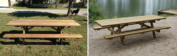 627 175 table hand 1 2 Table rust. avec banc Accessibilité PMR